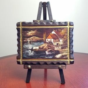*Rare!* Vintage wooden mini painting with easel